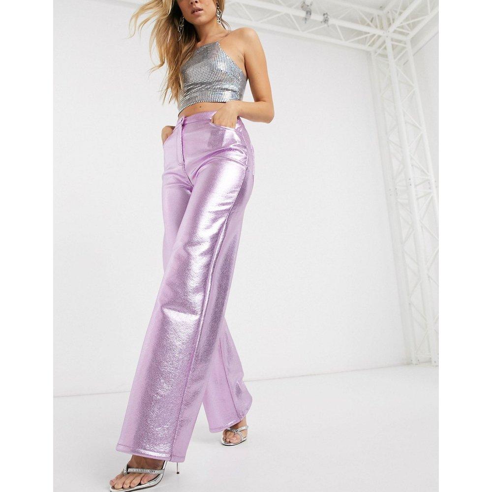Pantalon large en PU métallisé - ASOS DESIGN - Modalova