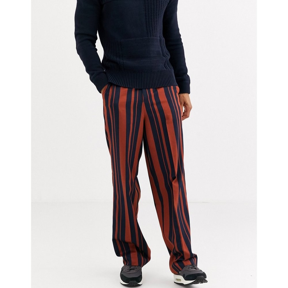 Pantalon large habillé taille haute à rayures - Bleu marine et orange - ASOS DESIGN - Modalova