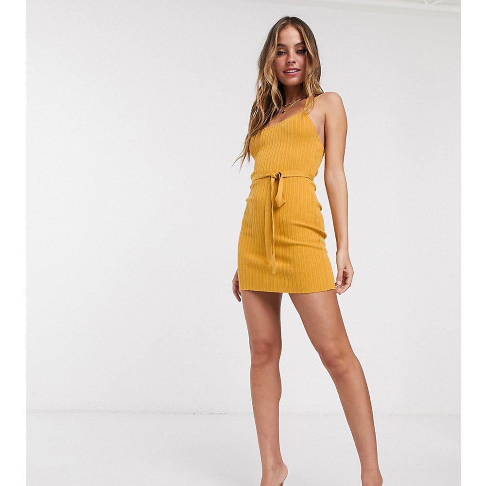 Petite - Robe courte style caraco en maille côtelée avec liens à nouer - ASOS DESIGN - Modalova