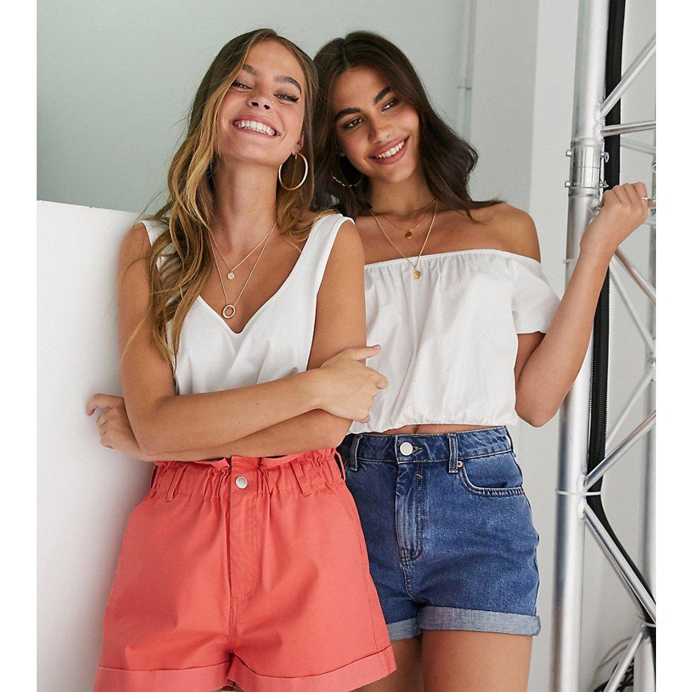 ASOS DESIGN Petite - Short casual avec taille haute froncée - ASOS Petite - Modalova