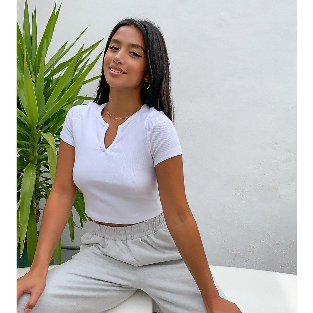 ASOS DESIGN Petite - T-shirt slim côtelé avec encolure à encoche - ASOS Petite - Modalova