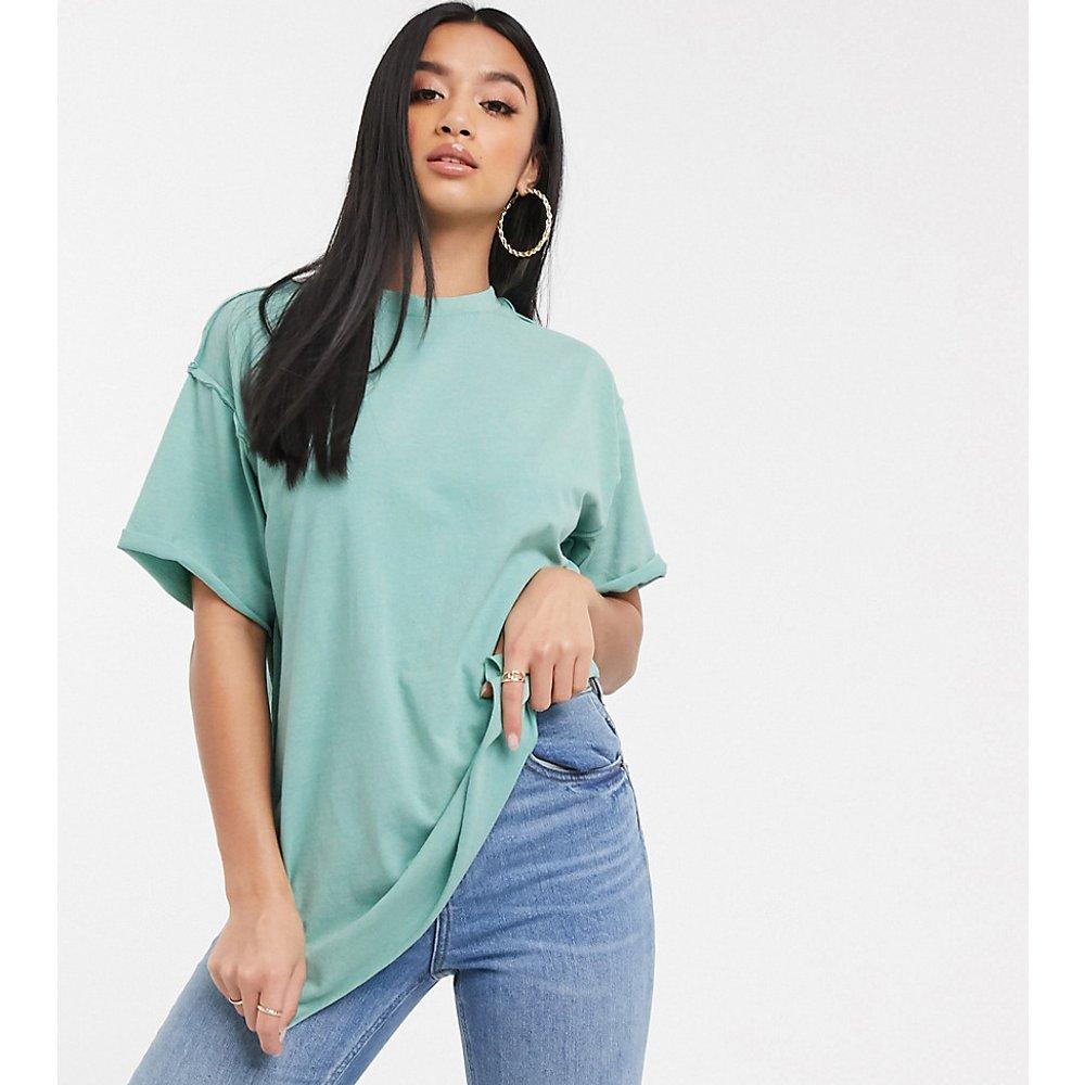ASOS DESIGN Petite - T-shirt ultra oversize à coutures apparentes - Sauge délavé - ASOS Petite - Modalova