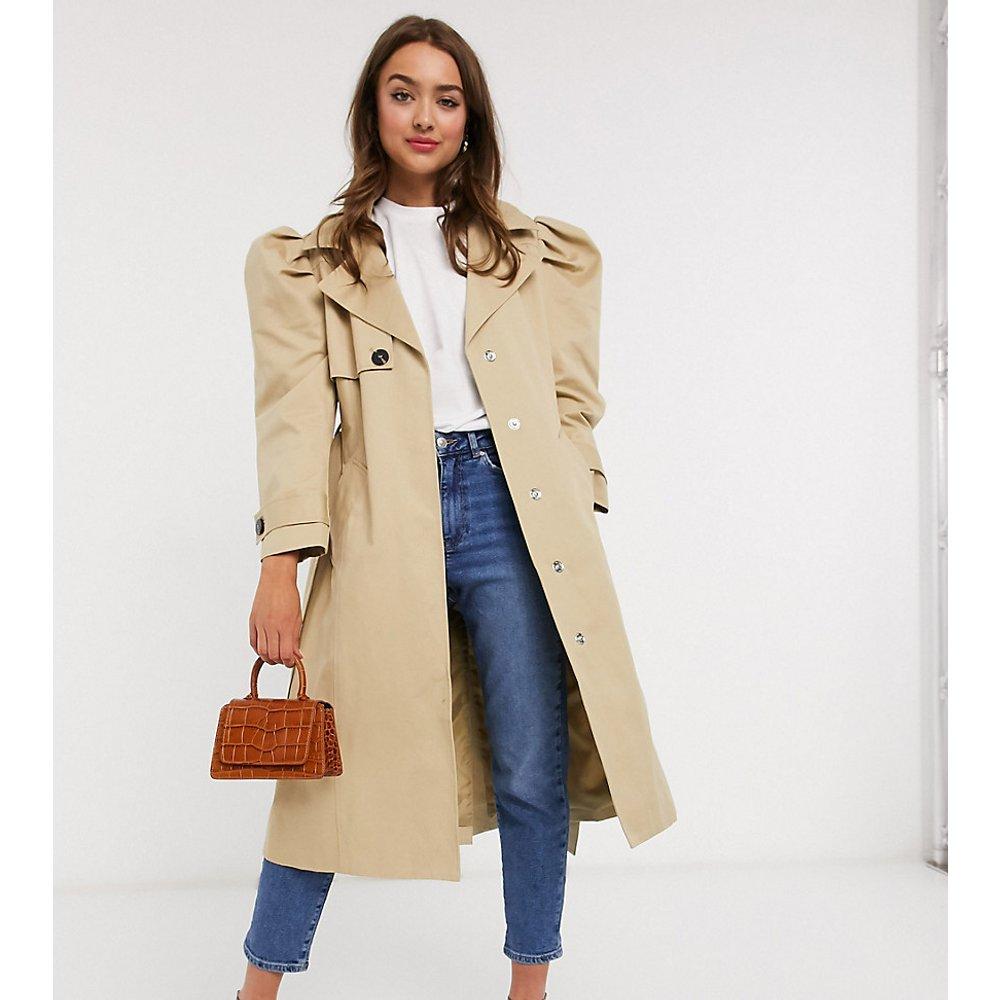 ASOS DESIGN Petite - Trench-coat à manches bouffantes - Taupe - ASOS Petite - Modalova
