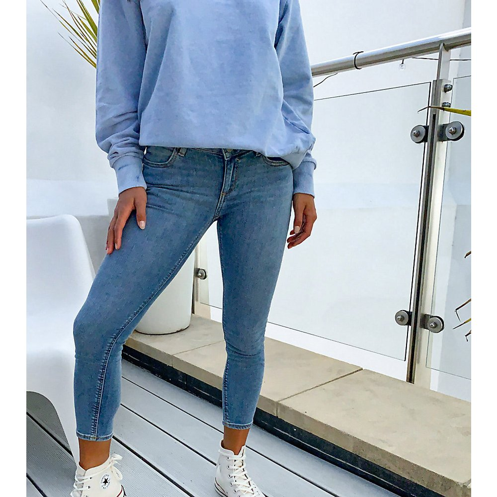 ASOS DESIGN Petite - Whitby - Jean skinny taille basse - clair délavé - ASOS Petite - Modalova