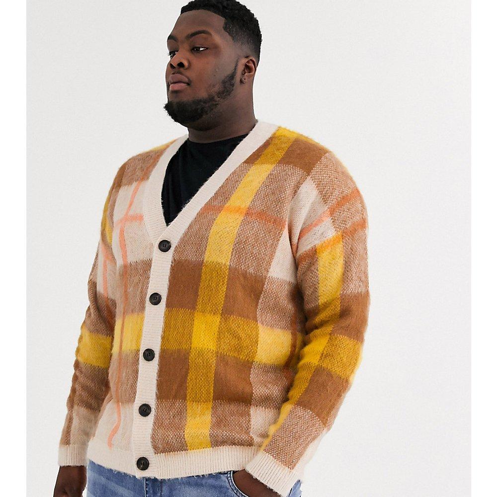 Plus - Cardigan oversize à carreaux - Avoine - ASOS DESIGN - Modalova