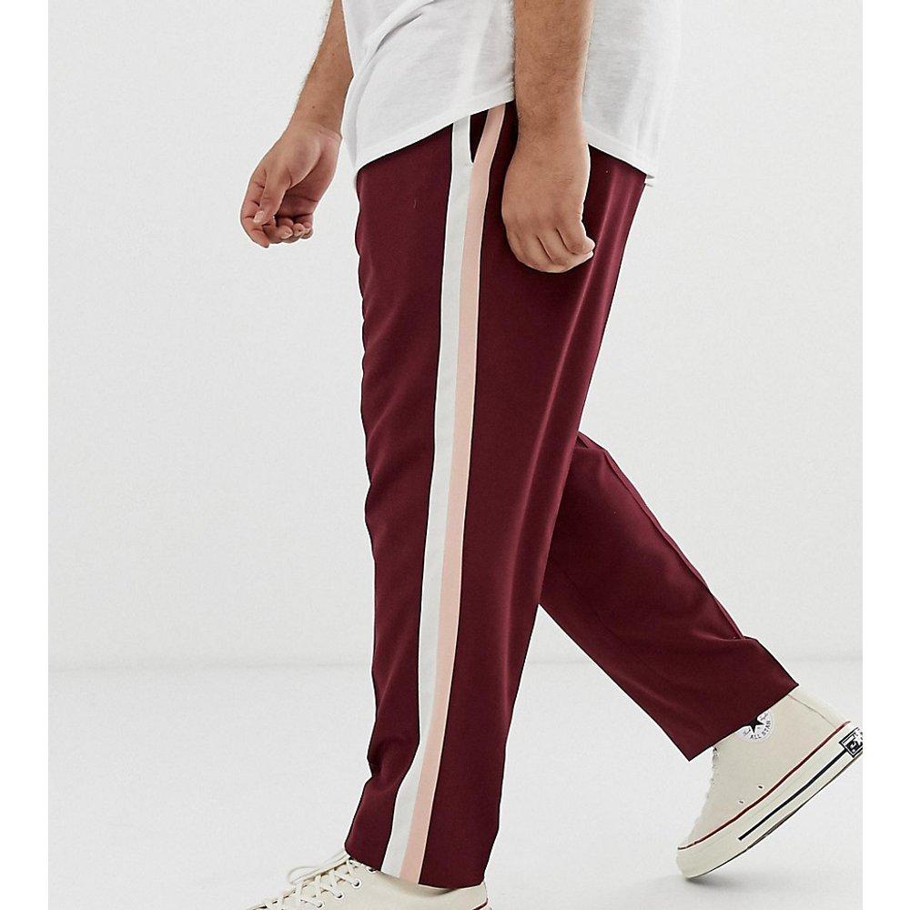 Plus - Pantalon habillé ajusté à rayures latérales - Bordeaux - ASOS DESIGN - Modalova