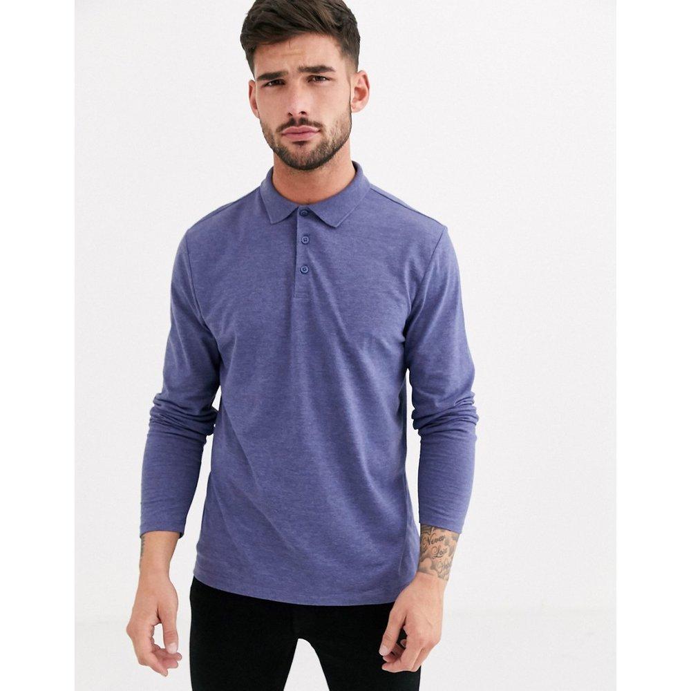 Polo en jersey à manches longues - chiné - ASOS DESIGN - Modalova