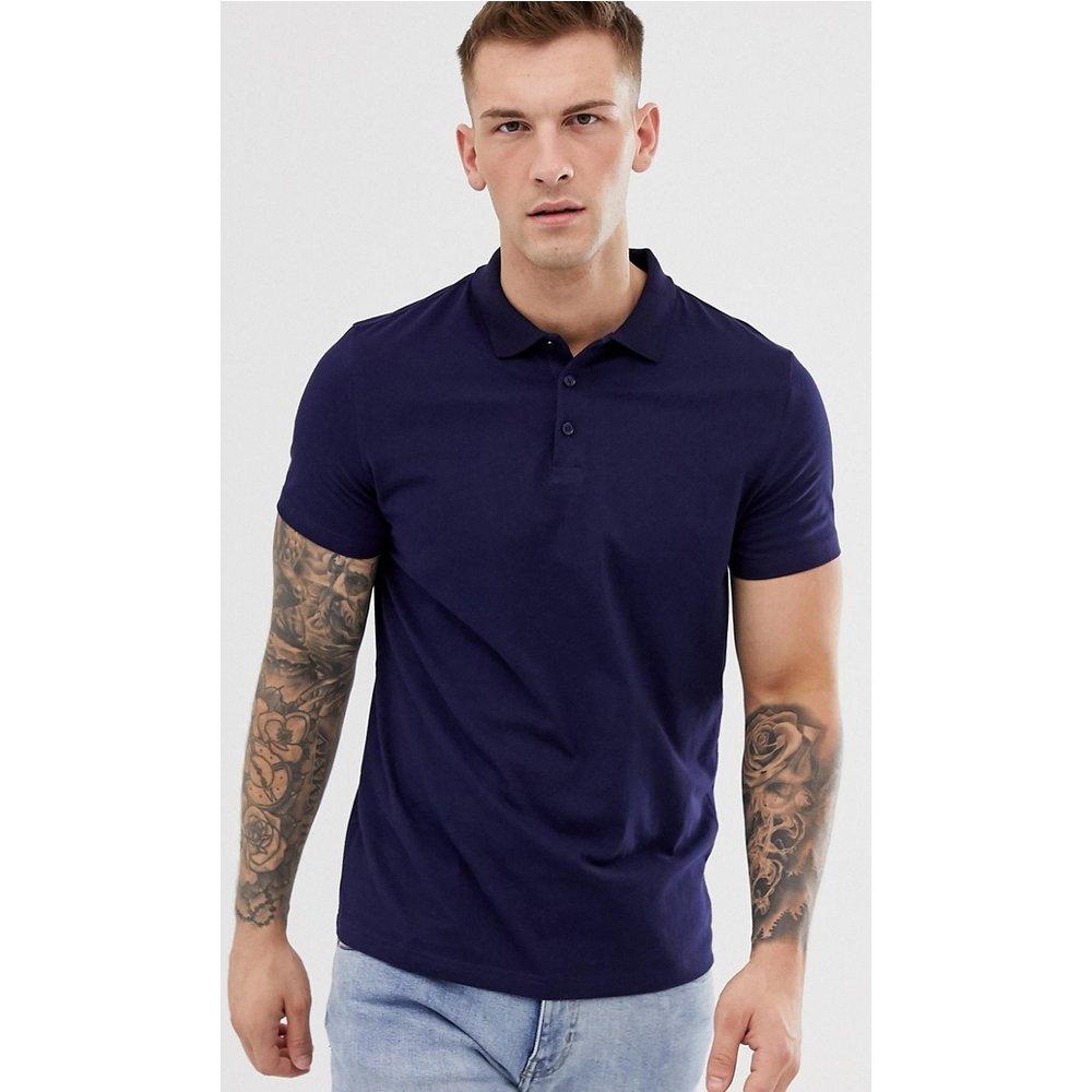 Polo en jersey - Bleu marine - ASOS DESIGN - Modalova