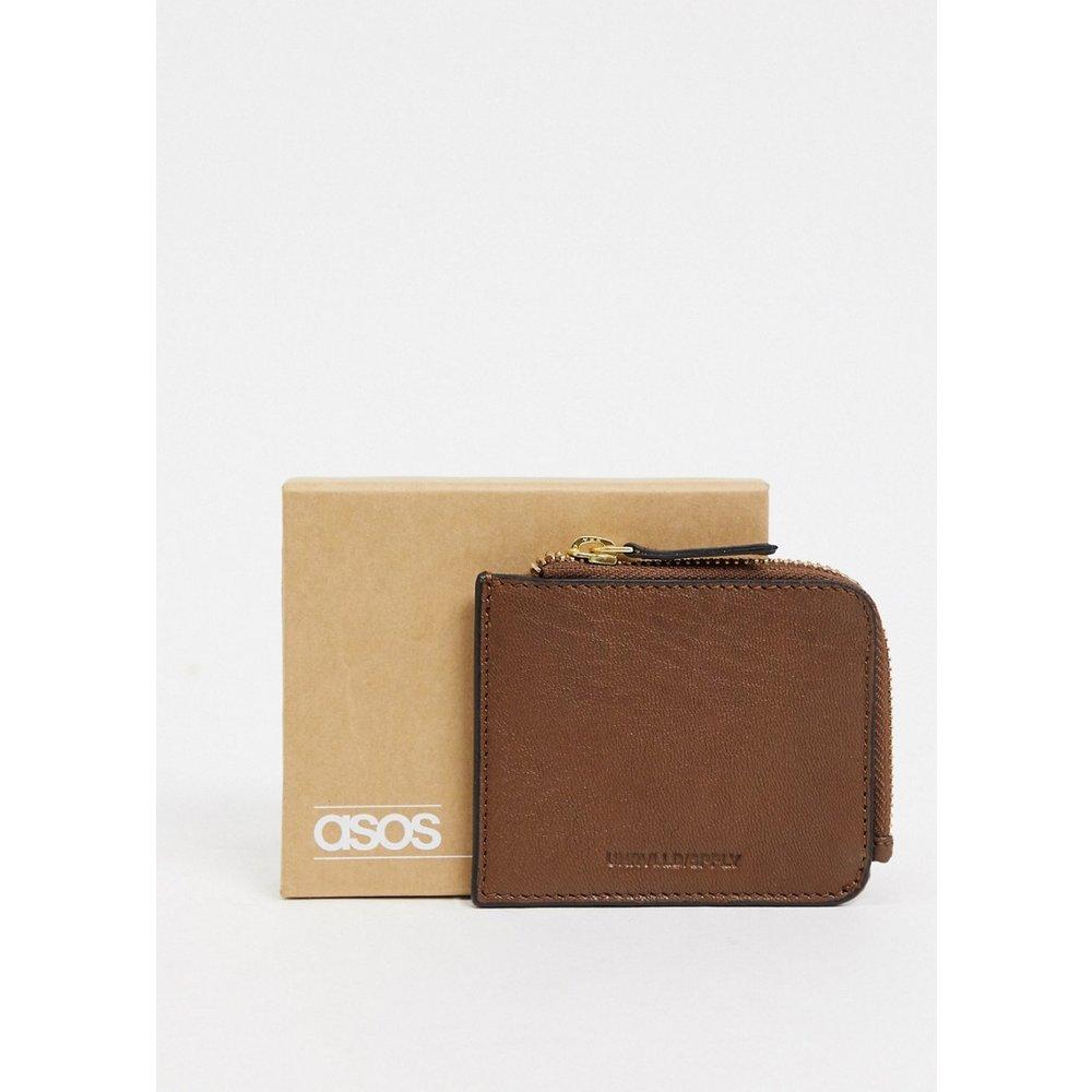 Porte-monnaie en cuir avec fermeture éclair sur le pourtour - vintage - ASOS DESIGN - Modalova