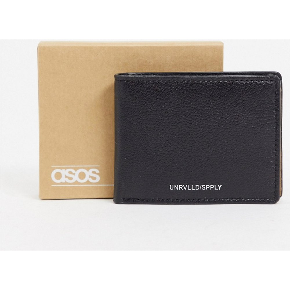 Portefeuille à rabat en cuir avec intérieur contrastant en daim - ASOS DESIGN - Modalova