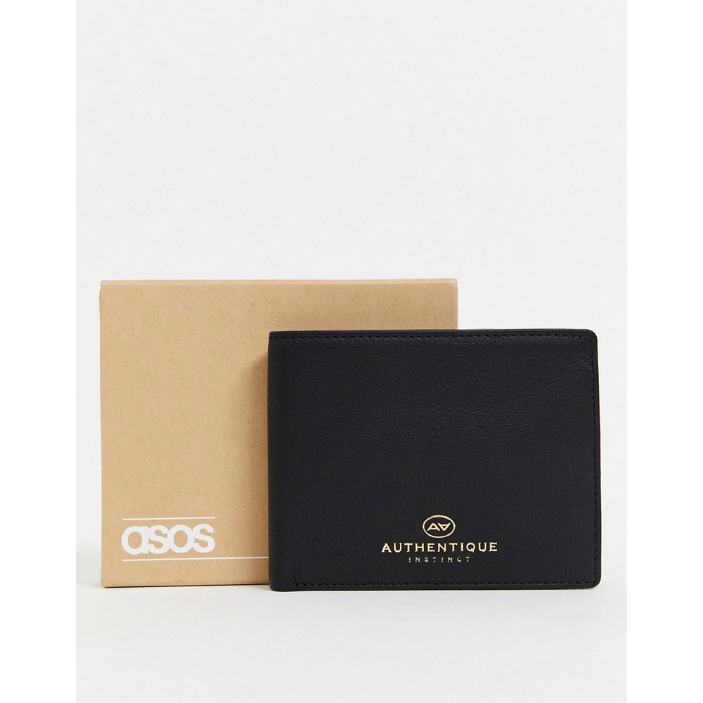 Portefeuille avec logo estampé - Cuir - ASOS DESIGN - Modalova