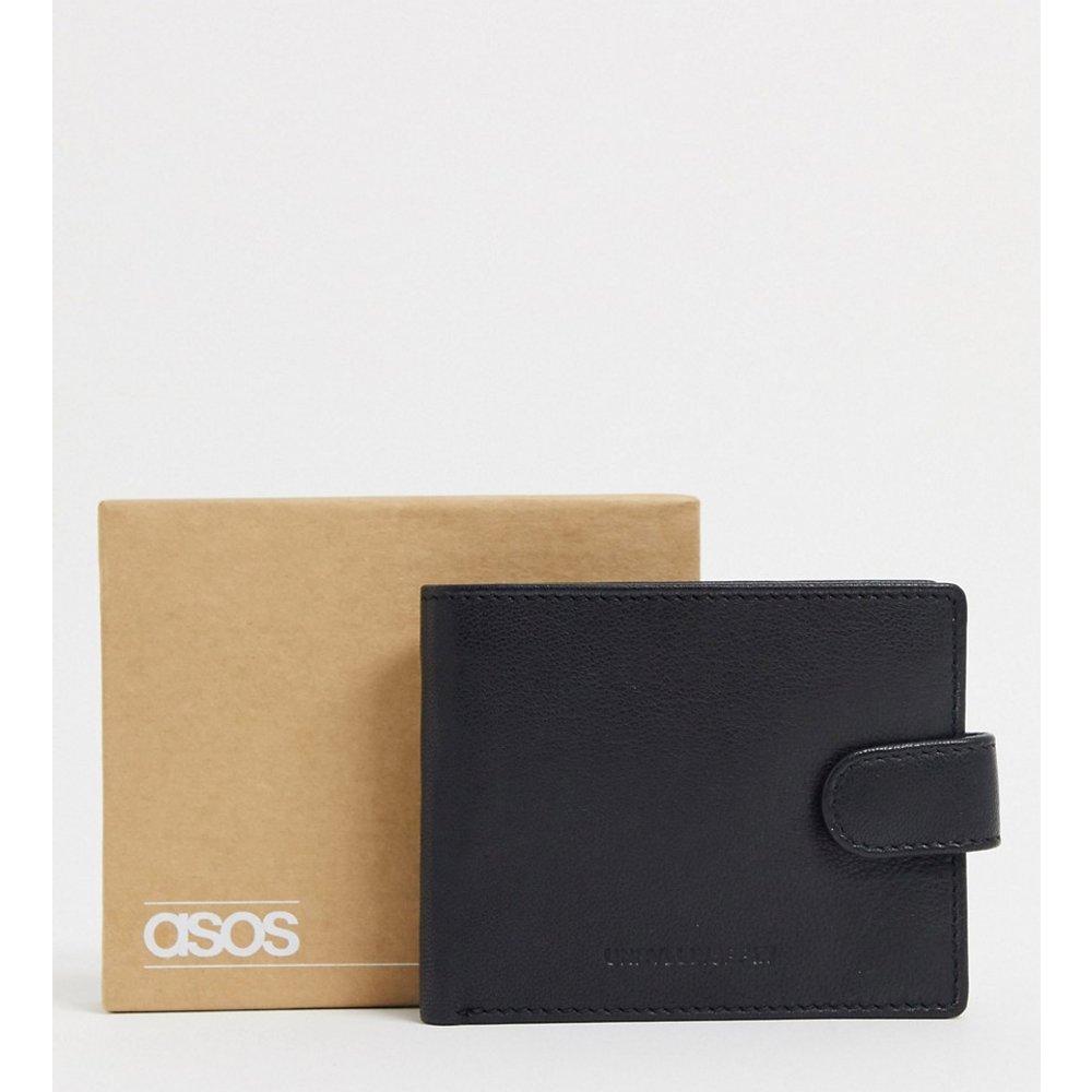 Portefeuille en cuir avec intérieur contrastant anthracite - ASOS DESIGN - Modalova