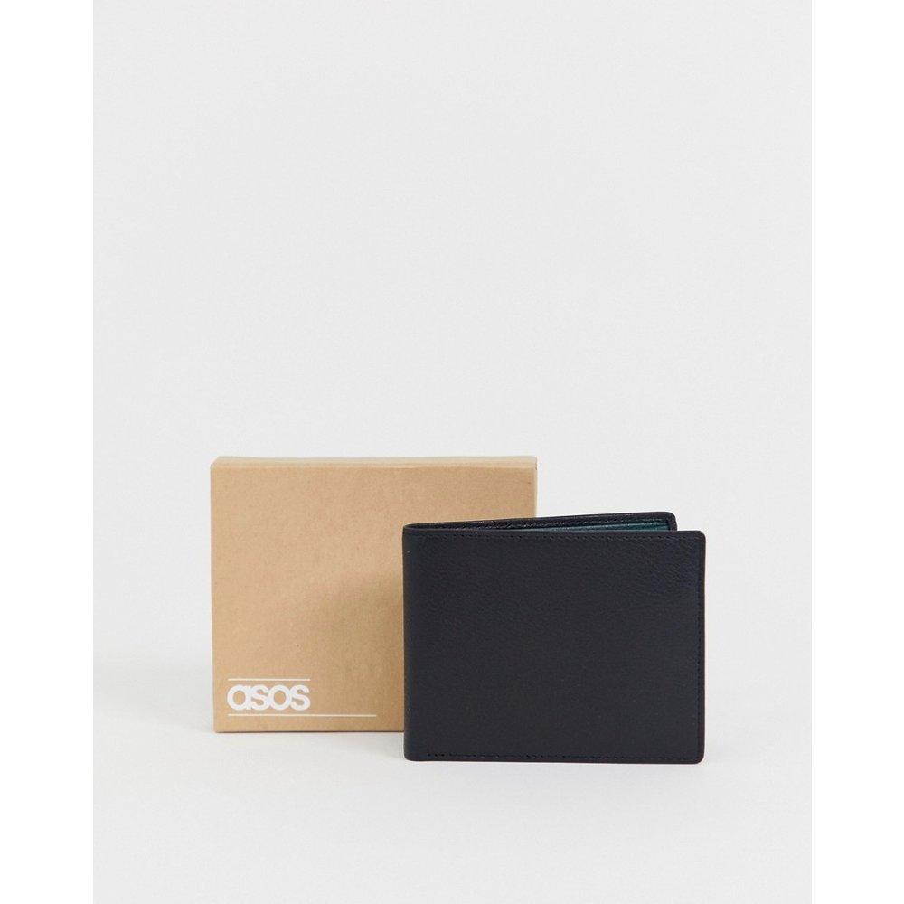 Portefeuille en cuir avec intérieur contrasté - Sarcelle - ASOS DESIGN - Modalova