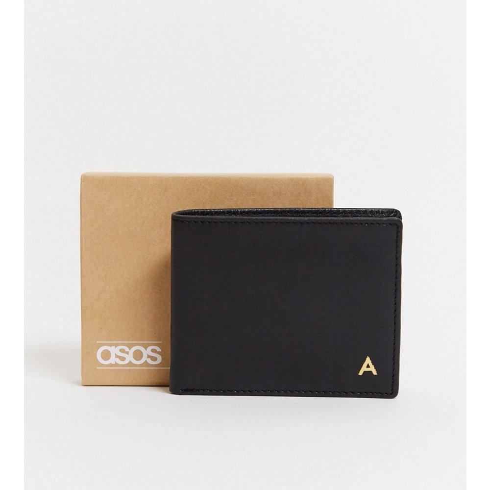 Portefeuille en cuir personnalisé avec initiale «A» - ASOS DESIGN - Modalova