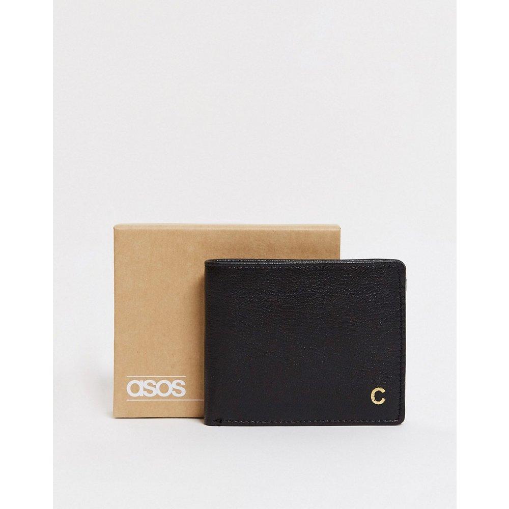 Portefeuille en cuir personnalisé avec initiale «C» - ASOS DESIGN - Modalova