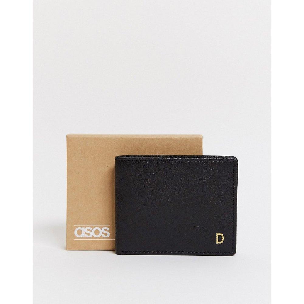 Portefeuille en cuir personnalisé avec initiale «D» - ASOS DESIGN - Modalova