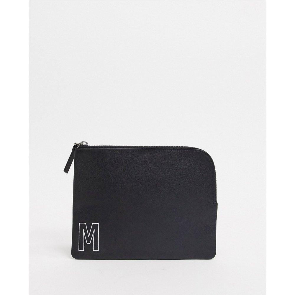 Portefeuille personnalisé en cuir avec fermeture éclair et initiale «M» - ASOS DESIGN - Modalova