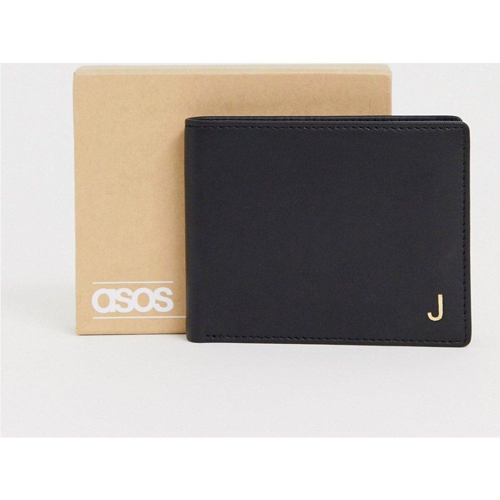 Portefeuille personnalisé en cuir avec initiale «J» - ASOS DESIGN - Modalova