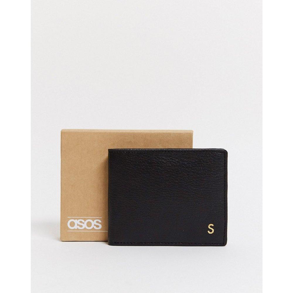 Portefeuille personnalisé en cuir avec initiale «S» - ASOS DESIGN - Modalova