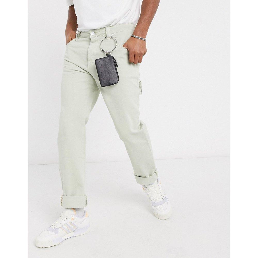 Portefeuille zippé en cuir avec anneau argenté pour passant de ceinture - ASOS DESIGN - Modalova