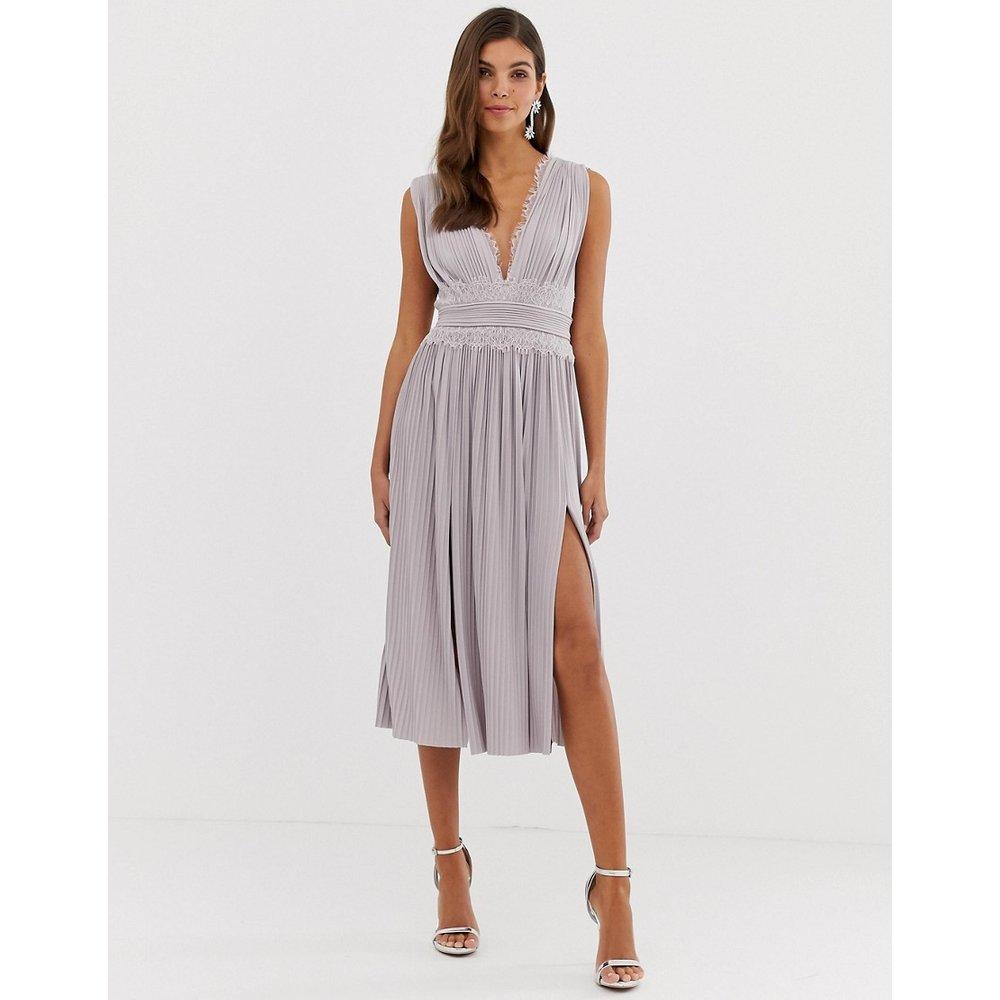 Premium - Robe courte plissée avec empiècement en dentelle - ASOS DESIGN - Modalova