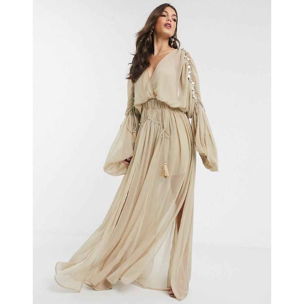 Robe babydoll longue ornée de pièces - ASOS DESIGN - Modalova