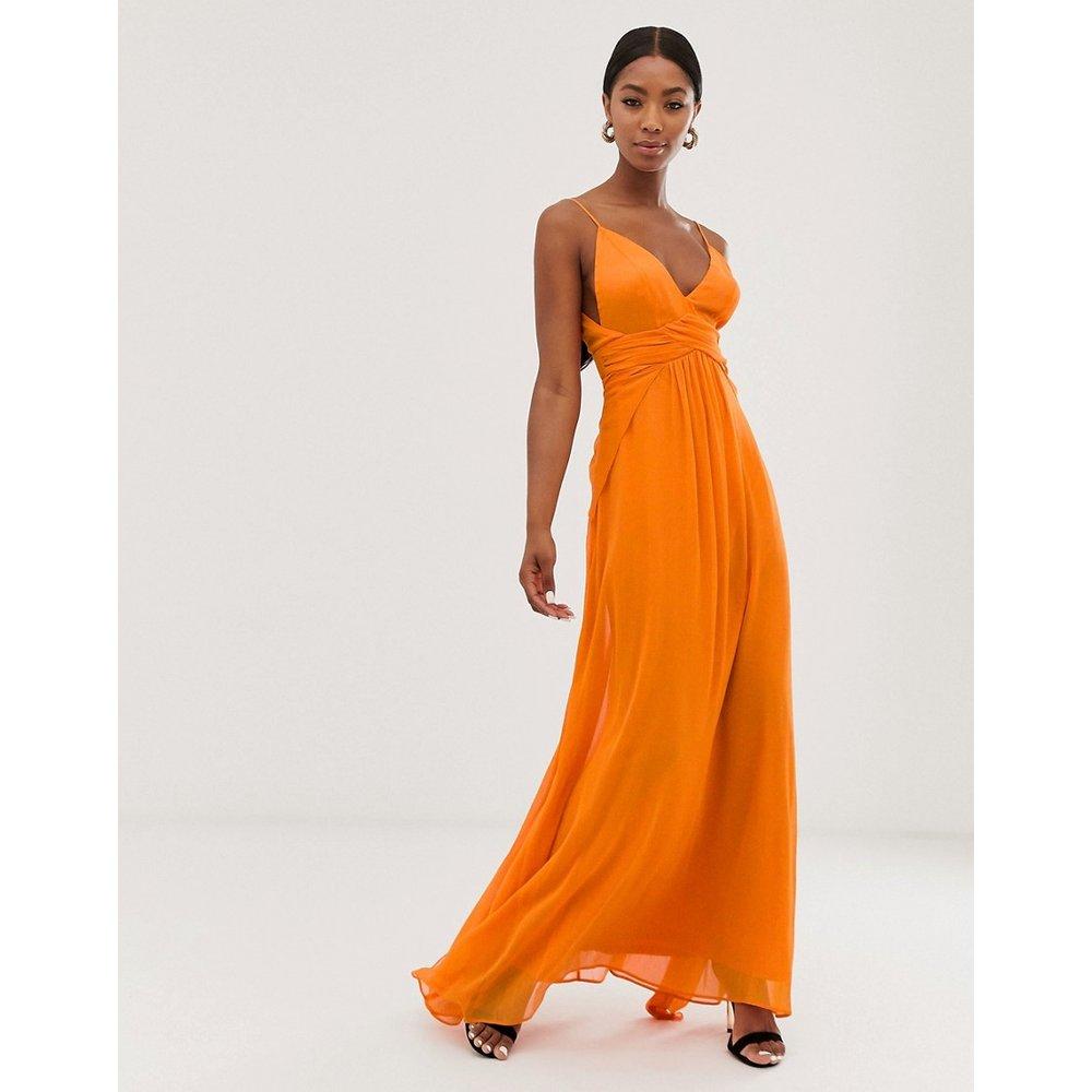 Robe caraco longue avec jupe fluide superposée et corsage froncé - ASOS DESIGN - Modalova