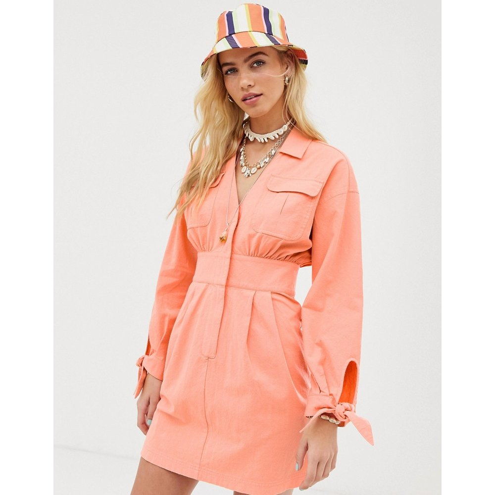 Robe chemise courte fonctionnelle délavée - ASOS DESIGN - Modalova