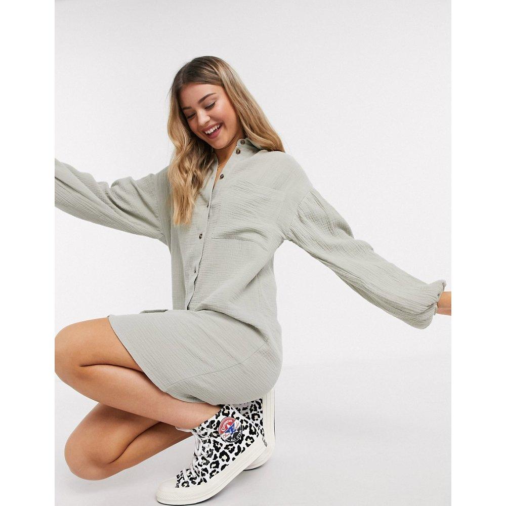 Robe chemise courte texturée - Kaki - ASOS DESIGN - Modalova