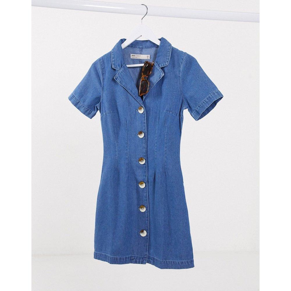 Robe chemise en denim souple - délavé moyen - ASOS DESIGN - Modalova