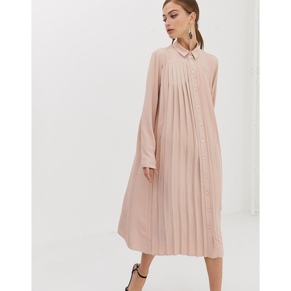 Robe chemise mi-longue plissée - Blush - ASOS DESIGN - Modalova