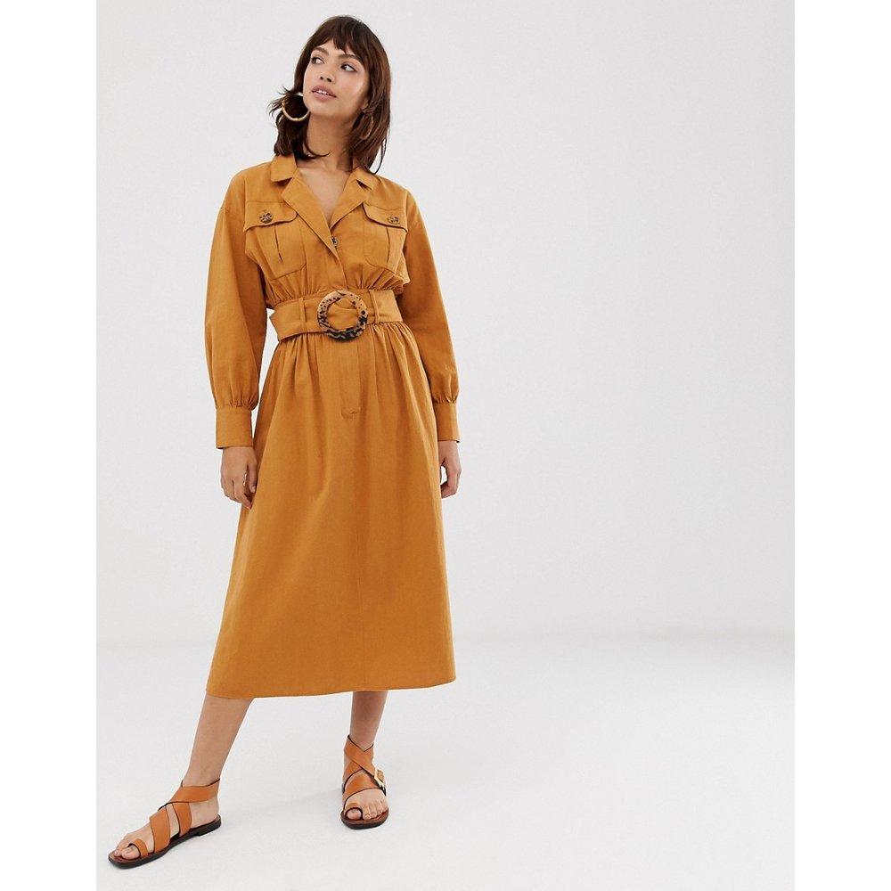 Robe chemise mi-longue texturée avec boucle écailles - ASOS DESIGN - Modalova