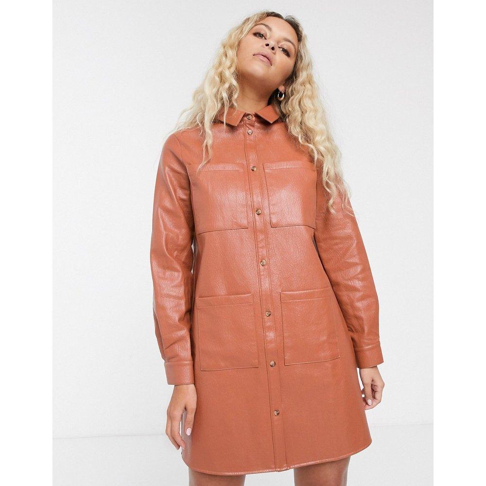 Robe chemise oversize en similicuir - Rouille - ASOS DESIGN - Modalova