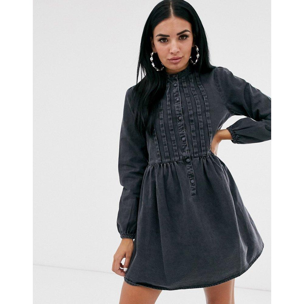 Robe chemise style babydoll en jean avec plis nervurés - ASOS DESIGN - Modalova