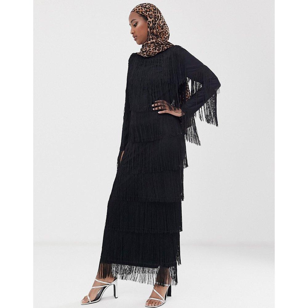 Robe droite longue à franges et manches longues - ASOS DESIGN - Modalova