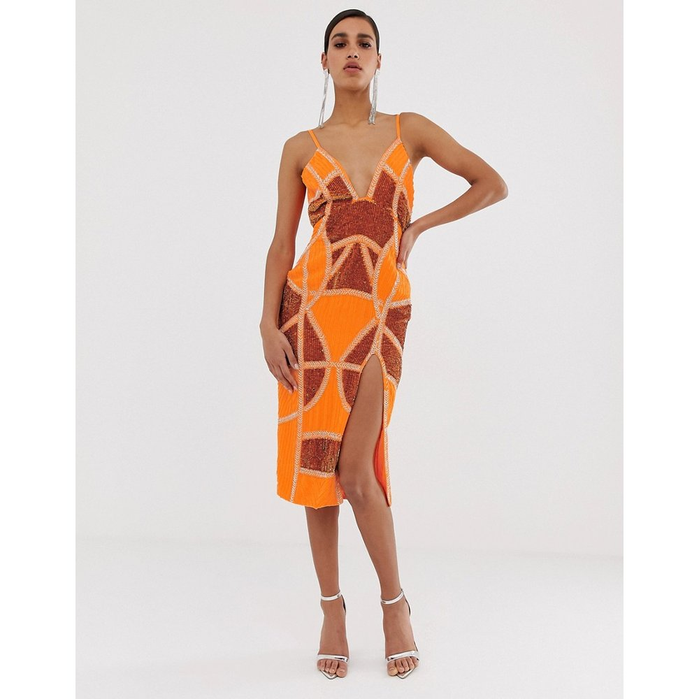 Robe fourreau mi-longue sexy avec empiècements brodés - ASOS DESIGN - Modalova