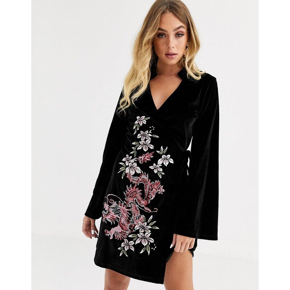 Robe kimono en velours brodé - ASOS DESIGN - Modalova