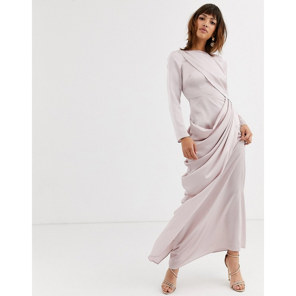 Robe longue à superposition drapée - ASOS DESIGN - Modalova