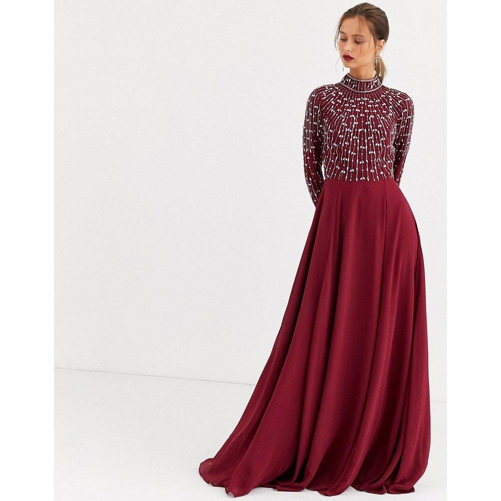 Robe longue avec jupe portefeuille et corsage à ornement linéaire - ASOS DESIGN - Modalova