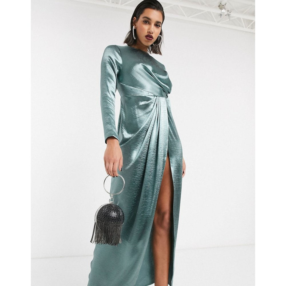 Robe longue drapée - ASOS DESIGN - Modalova