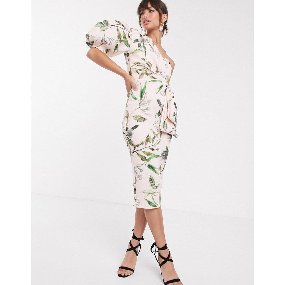 Robe mi-longue asymétrique à fleurs - ASOS DESIGN - Modalova
