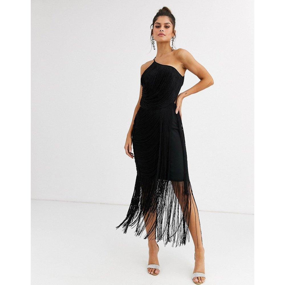 Robe mi-longue asymétrique à franges effet drapé - ASOS DESIGN - Modalova