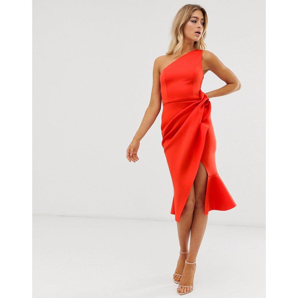 Robe mi-longue asymétrique à fronces - ASOS DESIGN - Modalova