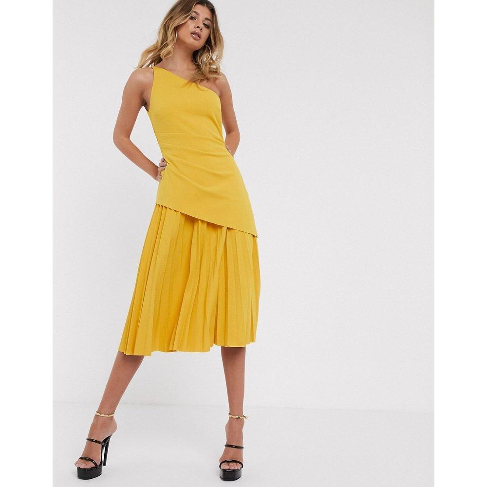 Robe mi-longue asymétrique avec jupe plissée - ASOS DESIGN - Modalova
