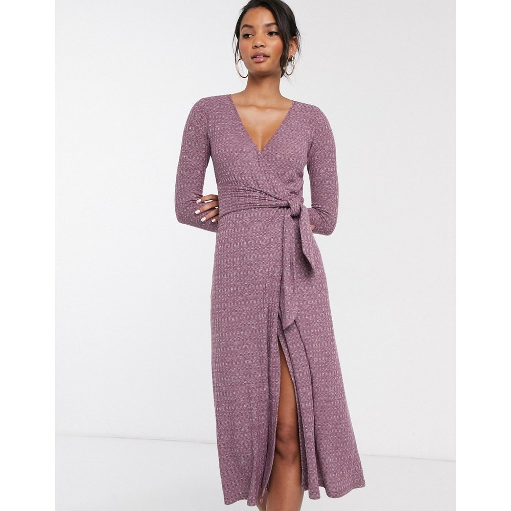 Robe mi-longue chinée à manches longues avec ceinture - ASOS DESIGN - Modalova