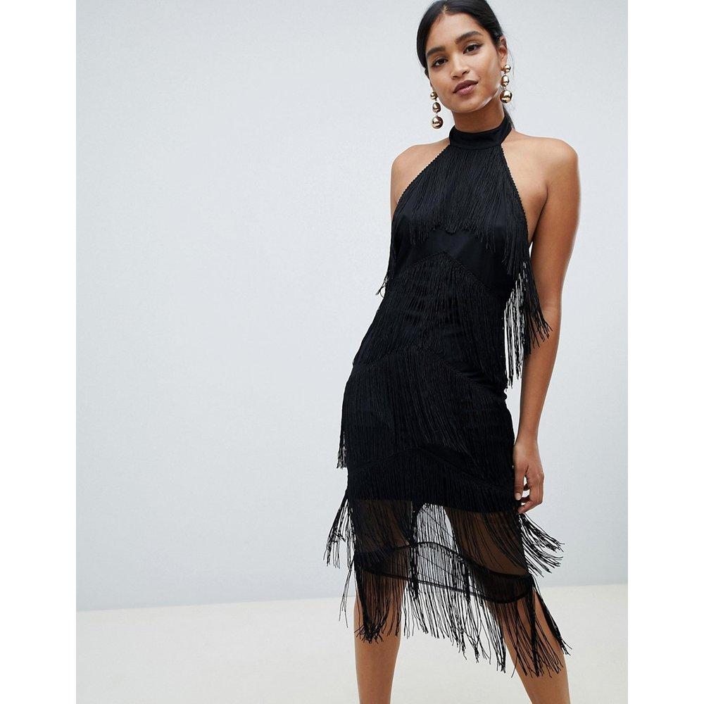 Robe mi-longue dos nu à franges - ASOS DESIGN - Modalova
