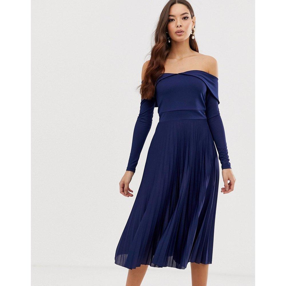 Robe mi-longue plissée style Bardot - ASOS DESIGN - Modalova