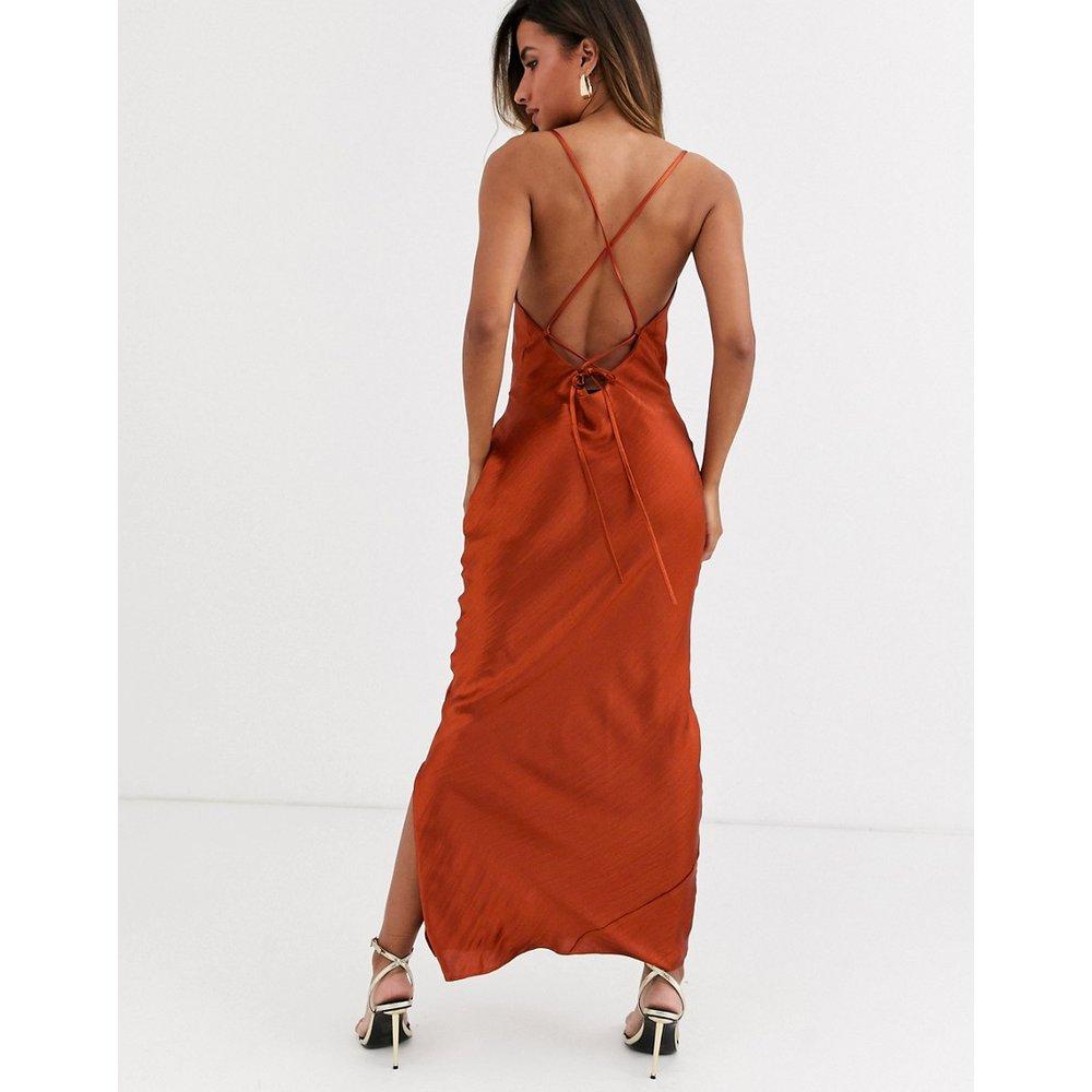 Robe nuisette longue caraco en satin ultra brillant lacée dans le dos - ASOS DESIGN - Modalova