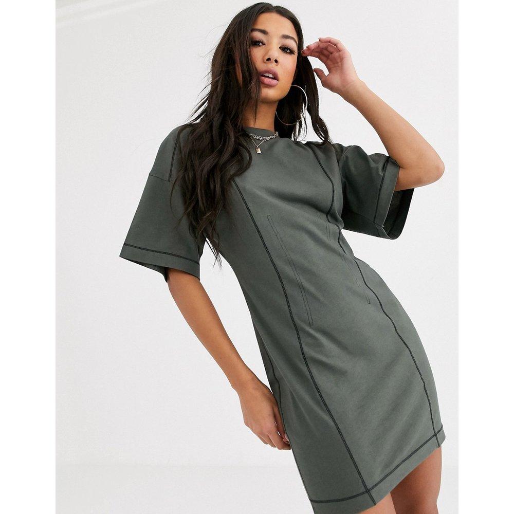 Robe t-shirt à surpiqûres façon corset - ASOS DESIGN - Modalova