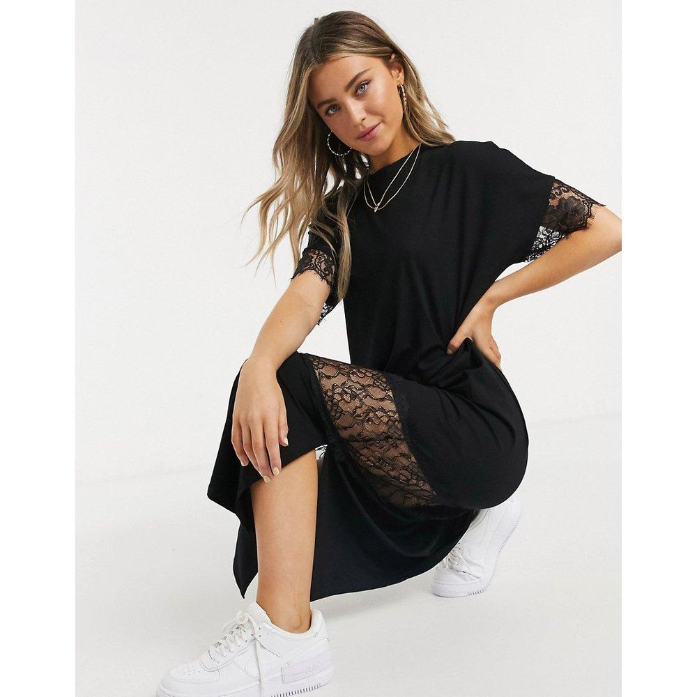 Robe t-shirt mi-longue à empiècements en dentelle - ASOS DESIGN - Modalova